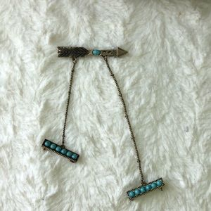 free people • gold & turquoise arrow brooch